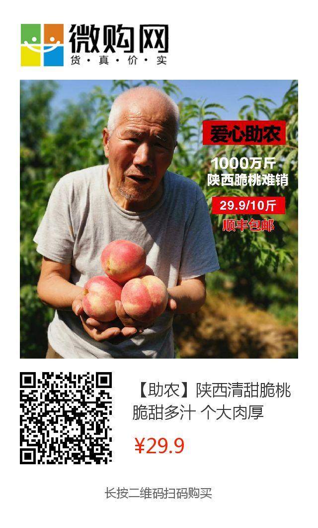 紧急求助! 陕西1000万斤清甜脆桃面临滞销,顺丰包邮10斤只需29.9元!请大家帮忙转发助力,帮助老乡度过难关。